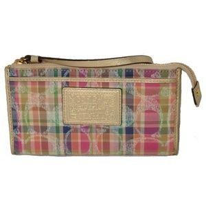 Coach Poppy Pop C Madras Zippy Wristlet Wallet